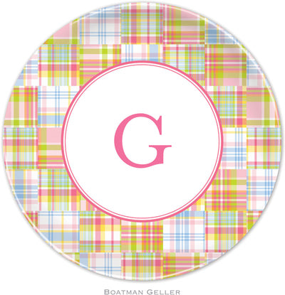 Set of 2 Personalized Plate Madras Patch Pink