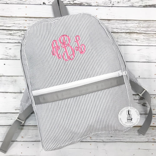 Medium Seersucker Personalized Backpack - Choose Color
