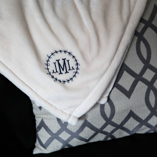 Personalized Micro Fleece Throw-Light Beige