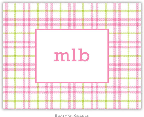 Miller Check Pink & Green personalized stationery