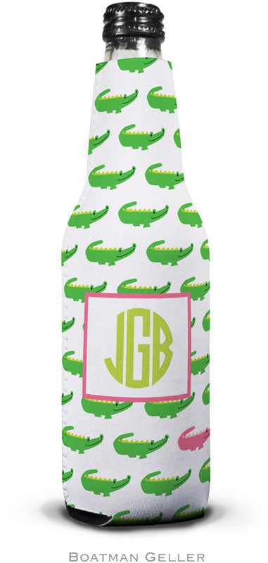 Alligator Repeat Set Of 2 Monogrammed Bottle Koozies