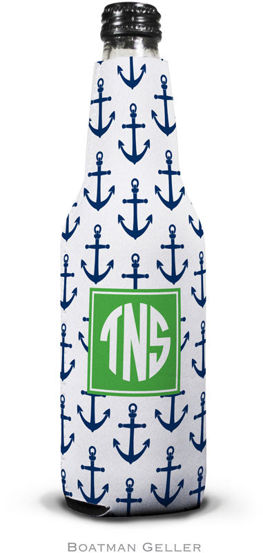 Anchors Navy Set Of 2 Monogrammed Bottle Koozies