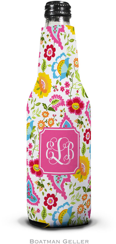 Bright Floral Set Of 2 Monogrammed Bottle Koozies
