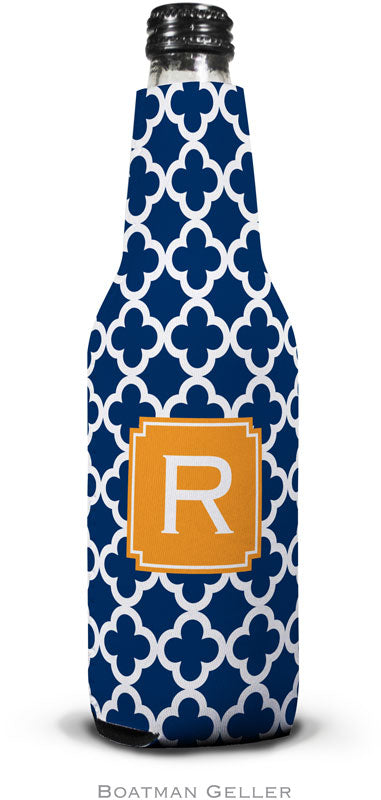 Bristol Tile Navy Set Of 2 Monogrammed Bottle Koozies