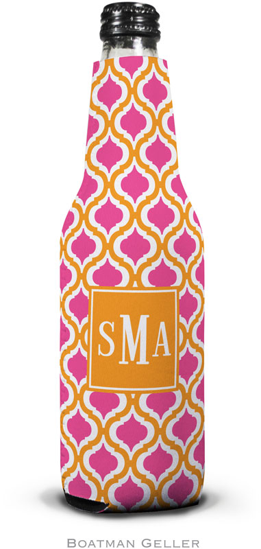 Kate Tangerine & Raspberry Set of 2 Monogrammed Bottle Koozies