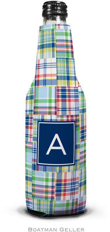Madras Patch Blue Set of 2 Monogrammed Bottle Koozies