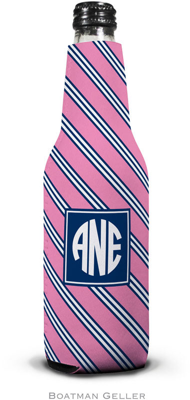 Repp Tie Pink & Navy Set of 2 Monogrammed Bottle Koozies