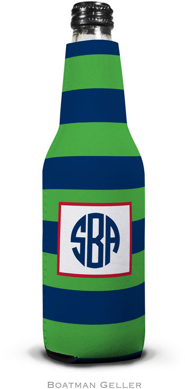 Rugby Navy & Kelly Set of 2 Monogrammed Bottle Koozies