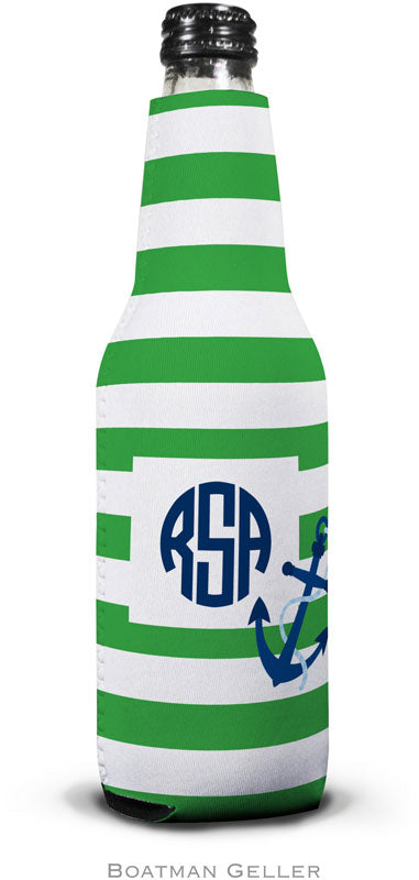 Stripe Anchor Set of 2 Monogrammed Bottle Koozies