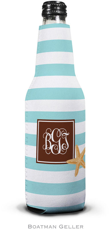 Stripe Starfish Set of 2 Monogrammed Bottle Koozies