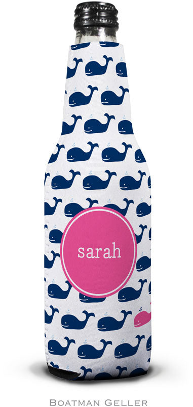 Whale Repeat Navy Set of 2 Monogrammed Bottle Koozies