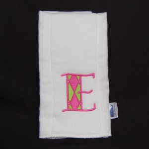 Girl Personalized Preppy Burp Cloth With Argyle Letter