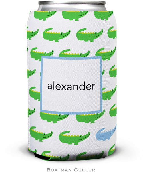 Alligator Repeat Blue Set of 2 Monogrammed Can Koozies