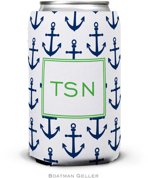 Anchors Navy Set of 2 Monogrammed Can Koozies