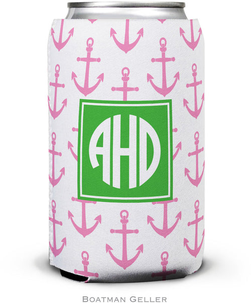 Anchors Pink Set of 2 Monogrammed Can Koozies
