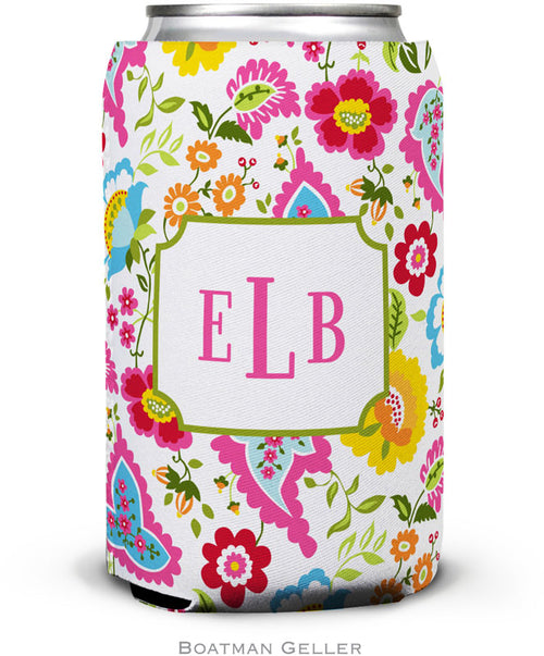 Bright Floral Set of 2 Monogrammed Can Koozies