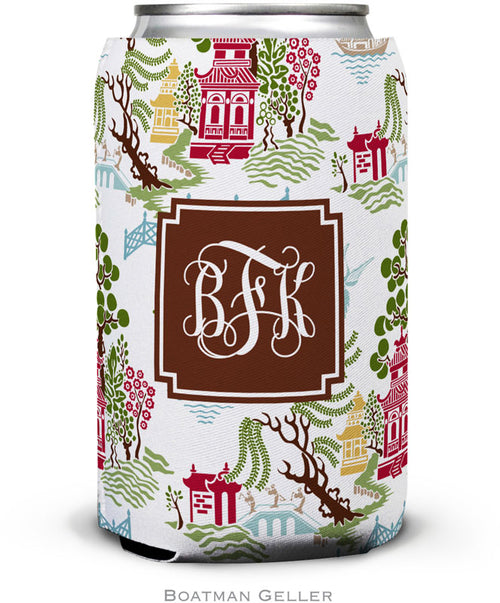 Chinoiserie Autumn Set of 2 Monogrammed Can Koozies