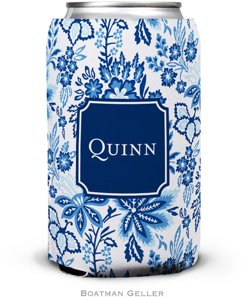 Classic Floral Blue Set of 2 Monogrammed Can Koozies