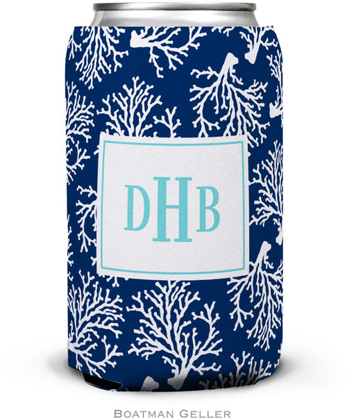 Coral Repeat Navy Set of 2 Monogrammed Can Koozies