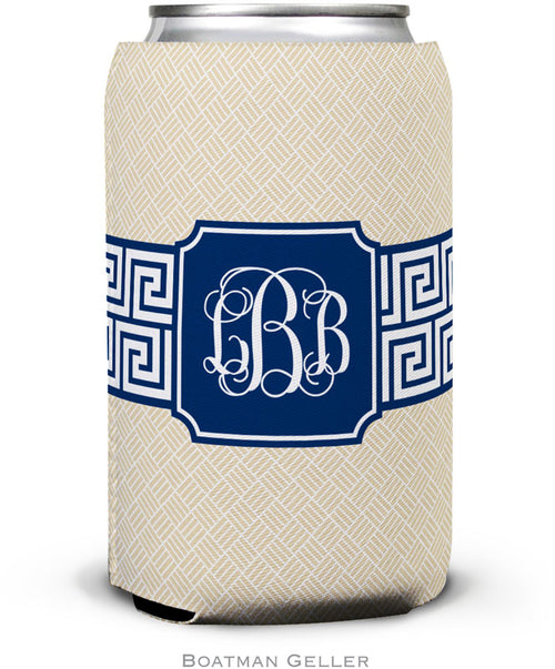 Greek Key Band Navy Set of 2 Monogrammed Can Koozies
