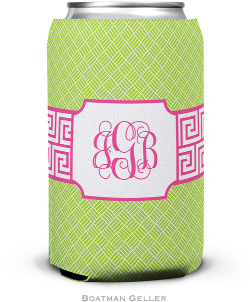 Greek Key Band Pink Set of 2 Monogrammed Can Koozies