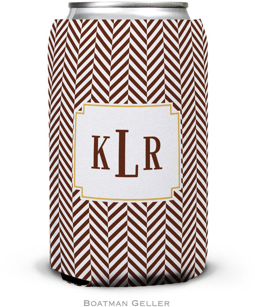 Herringbone Chocolate Set of 2 Monogrammed Can Koozies