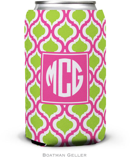 Kate Raspberry & Lime Set of 2 Monogrammed Can Koozies