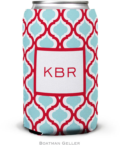 Kate Red & Teal Set of 2 Monogrammed Can Koozies