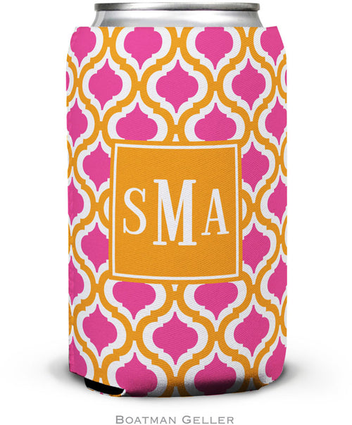 Kate Tangerine & Raspberry Set of 2 Monogrammed Can Koozies