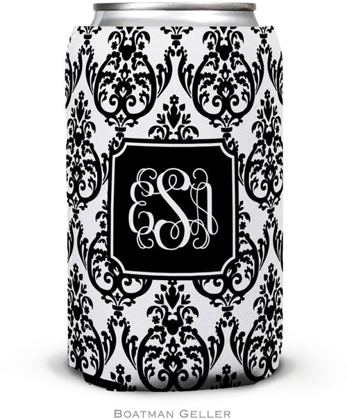 Madison Damask White with Black Set of 2 Monogrammed Can Koozies