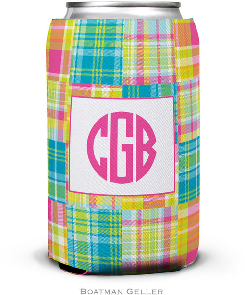 Madras Patch Bright Set of 2 Monogrammed Can Koozies