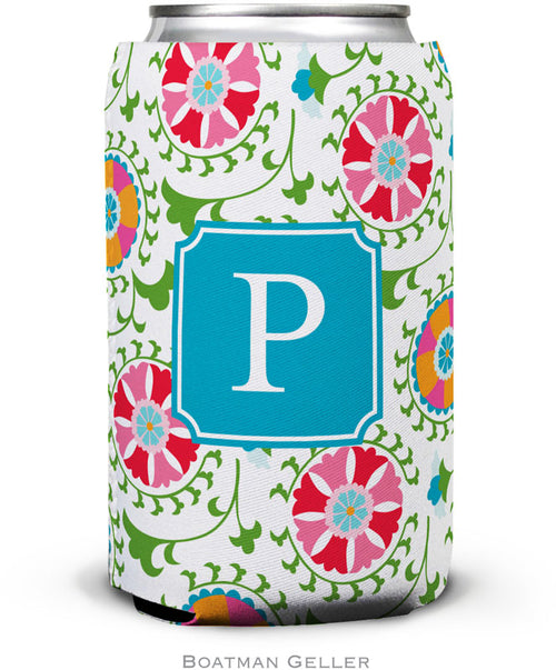 Suzani Set of 2 Monogrammed Can Koozies