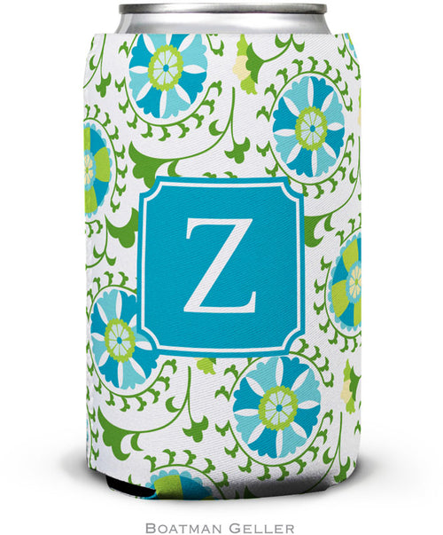 Suzani Teal Preset  Set of 2 Monogrammed Can Koozies