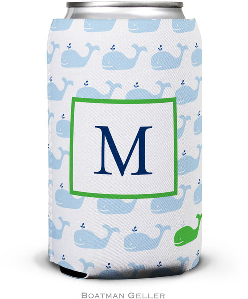 Whale Repeat Monogrammed Set of 2 Can Koozies