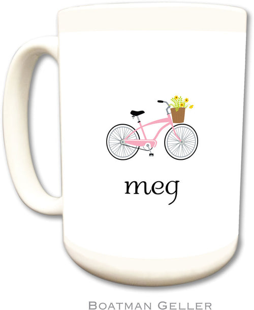 Set of 2 Bicycle Monogrammed Ceramic Coffee Mug
