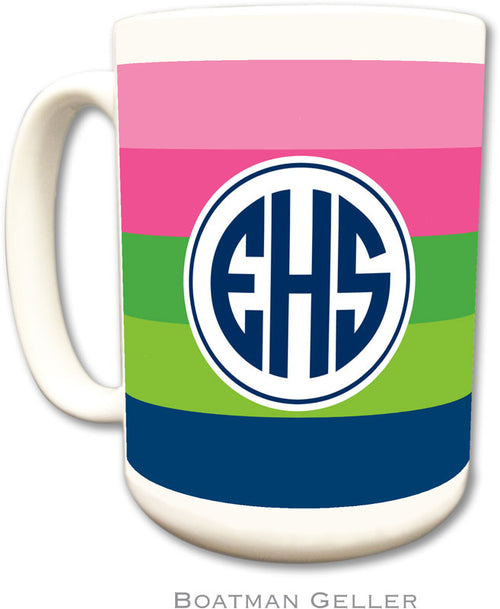Set of 2 Bold Stripe Pink Green & Navy Monogrammed Ceramic Coffee Mug