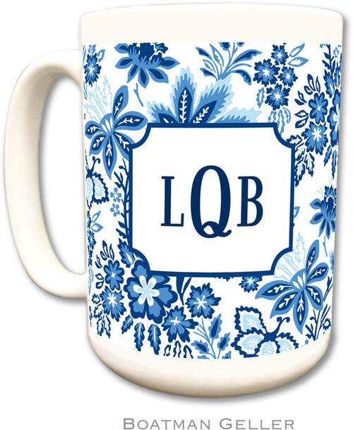 Set of 2 Classic Floral Blue Monogrammed Ceramic Coffee Mug