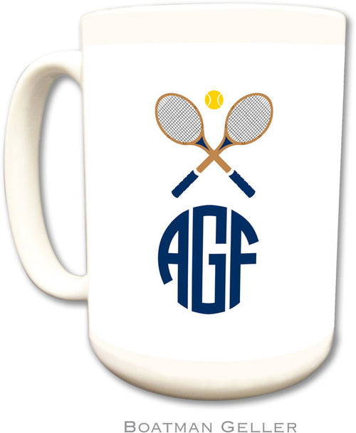 Set of 2 Crossed Racquets Monogrammed Ceramic Coffee Mug