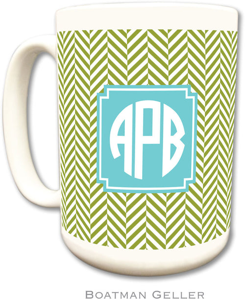 Set of 2 Herringbone Jungle Preset Monogrammed Ceramic Coffee Mug