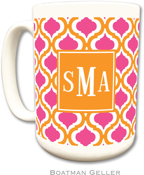 Set of 2 Tangerine & Raspberry Preset Monogrammed Ceramic Coffee Mug
