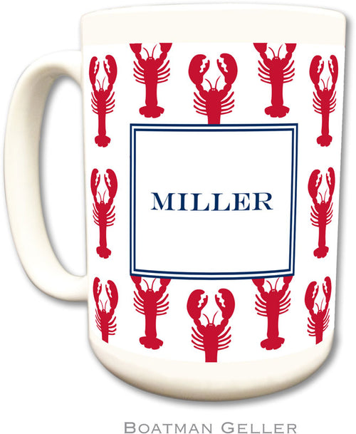Set of 2 Lobsters Red Monogrammed Ceramic Coffee Mug
