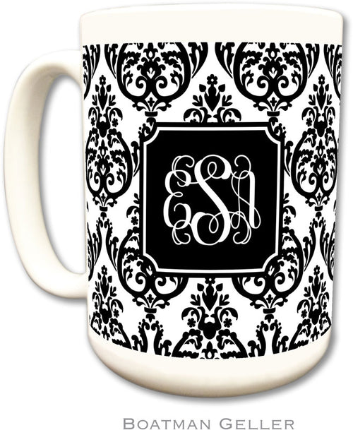 Set of 2 Madison Damask White with Black Preset Monogrammed Ceramic Coffee Mug