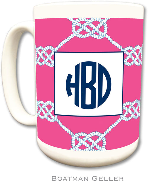 Set of 2 Nautical Knot Raspberry Monogrammed Ceramic Coffee Mug