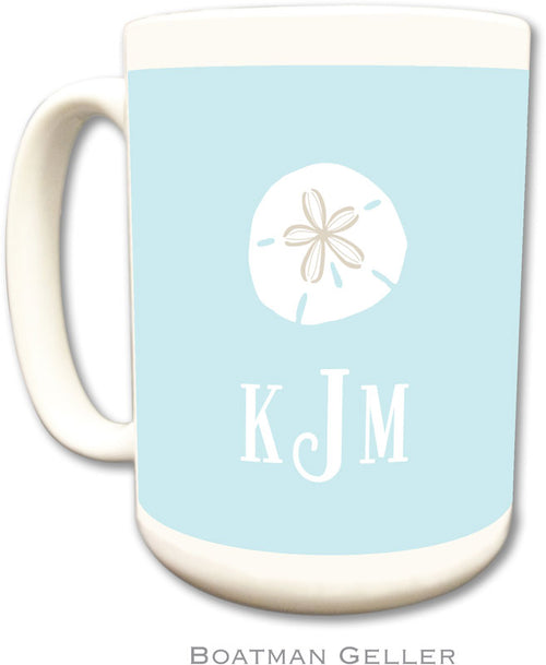 Set of 2 Sand Dollar Monogrammed Ceramic Coffee Mug