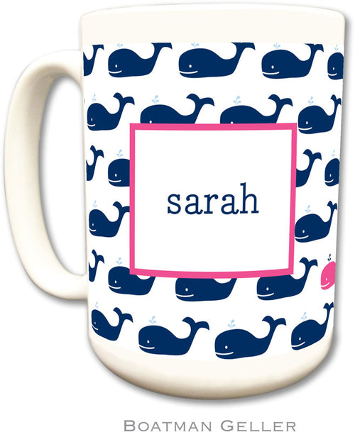 Set of 2 Whale Repeat Navy Monogrammed Ceramic Coffee Mug