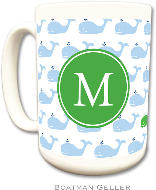 Set of 2 Whale Repeat Preset Monogrammed Ceramic Coffee Mug