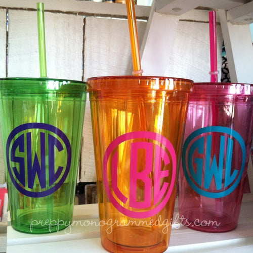Monogrammed 16 OZ. Acrylic Tumbler with Lid and Straw