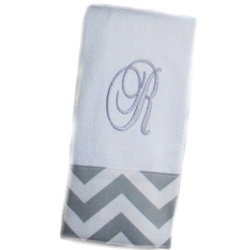 Monogrammed Kitchen Towel With Fabric Trim
