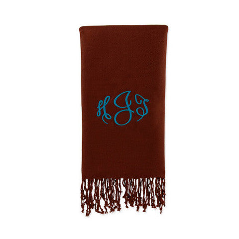 Solid Chocolate Monogrammed Pashmina Scarf