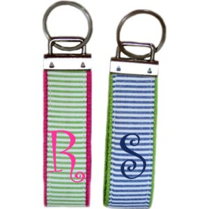 Monogrammed Seersucker Key Chains !!